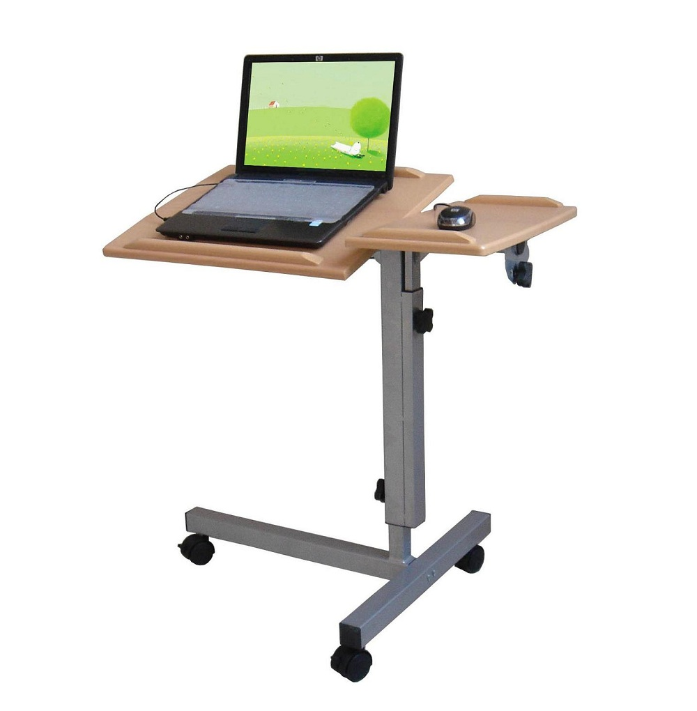 Beautiful Laptop Desk Stand for Work Space or Office: Admirable Laptop Desk Stand With Aluminium Feet With Roll For Work Space Or Office Furniture Ideas