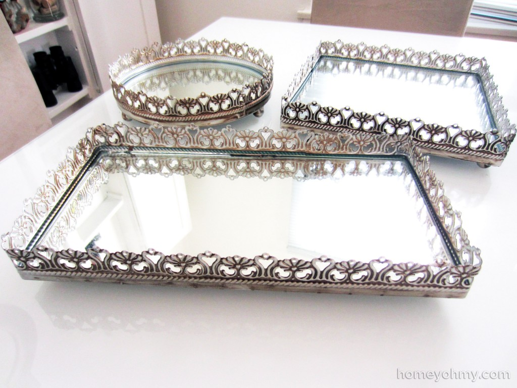 Beautiful Shines Mirrored Vanity Tray for Home Accesories Ideas: Admirable Mirrored Vanity Tray