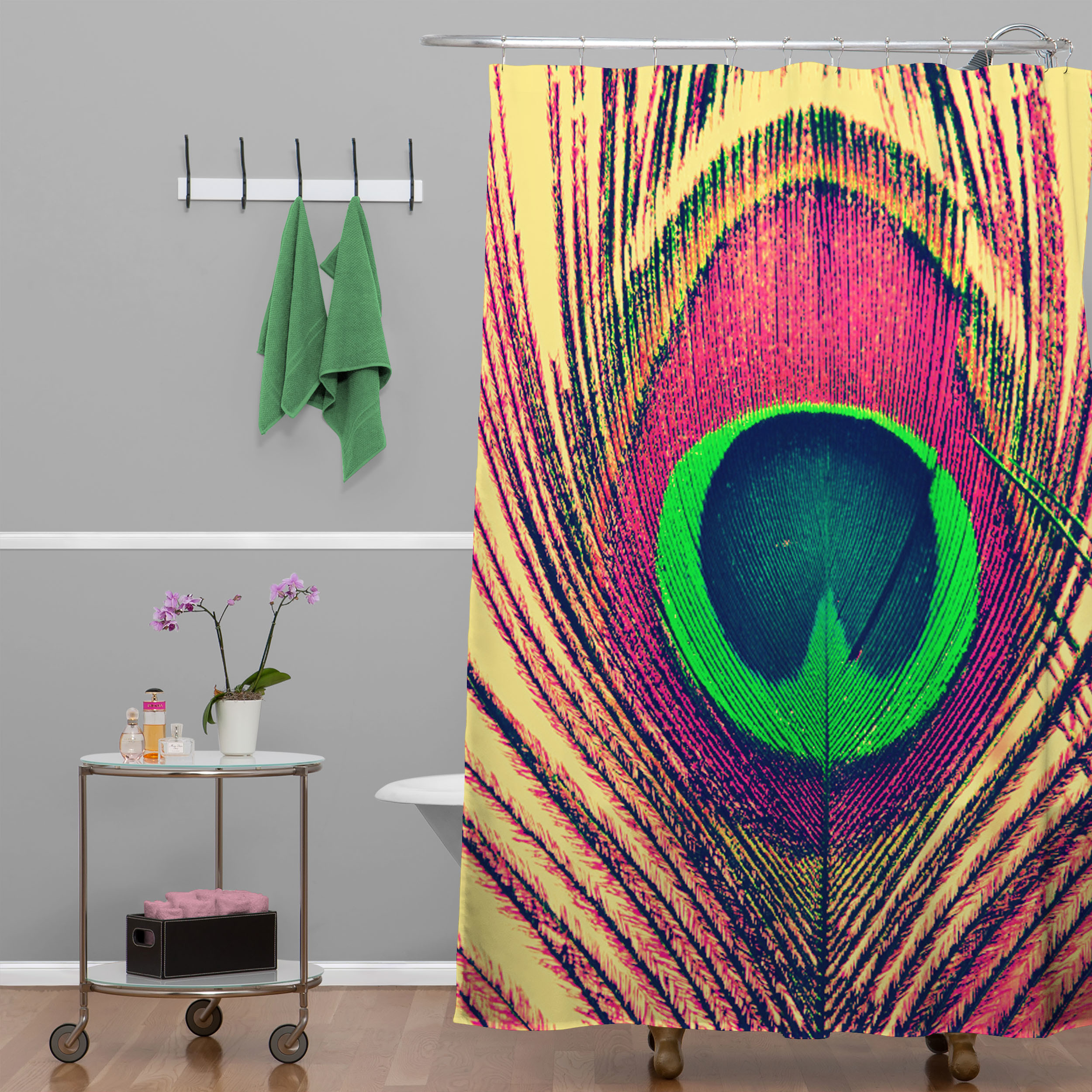 Admirable peacock shower curtain featuring beautiful color peacock shower curtain and sidetable with rollers for your beautiful modern bathroom shower ideas