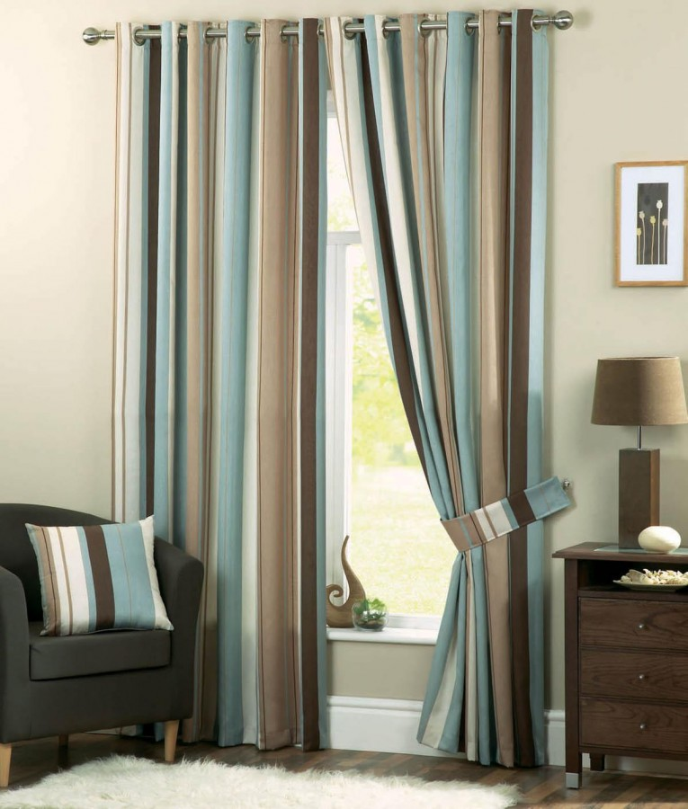 Admirable Striped Curtains With Long Curtain And Nightlamps Also Single Sofa Combined With Fluufy Rug And Lowes Mini Table