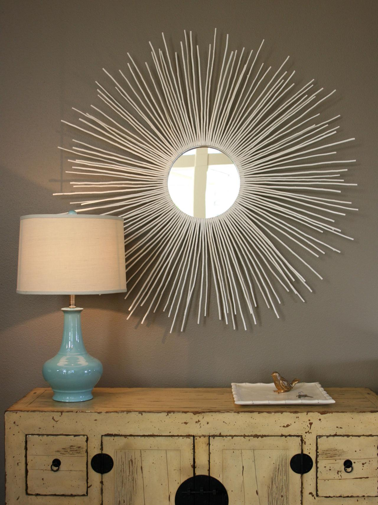 Admirable sunburst mirrors with rustic table and night lap combined plus luxury wall