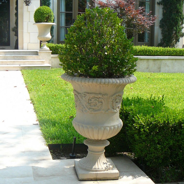Admirable Urn Planters White Color For Exterior
