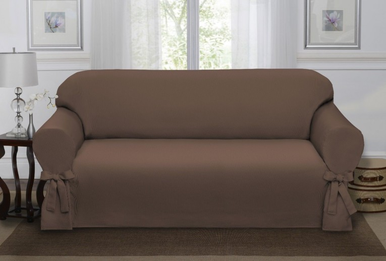 Adorable Brown Waterproof Couch Cover With Rug And Sidetable For Living Room