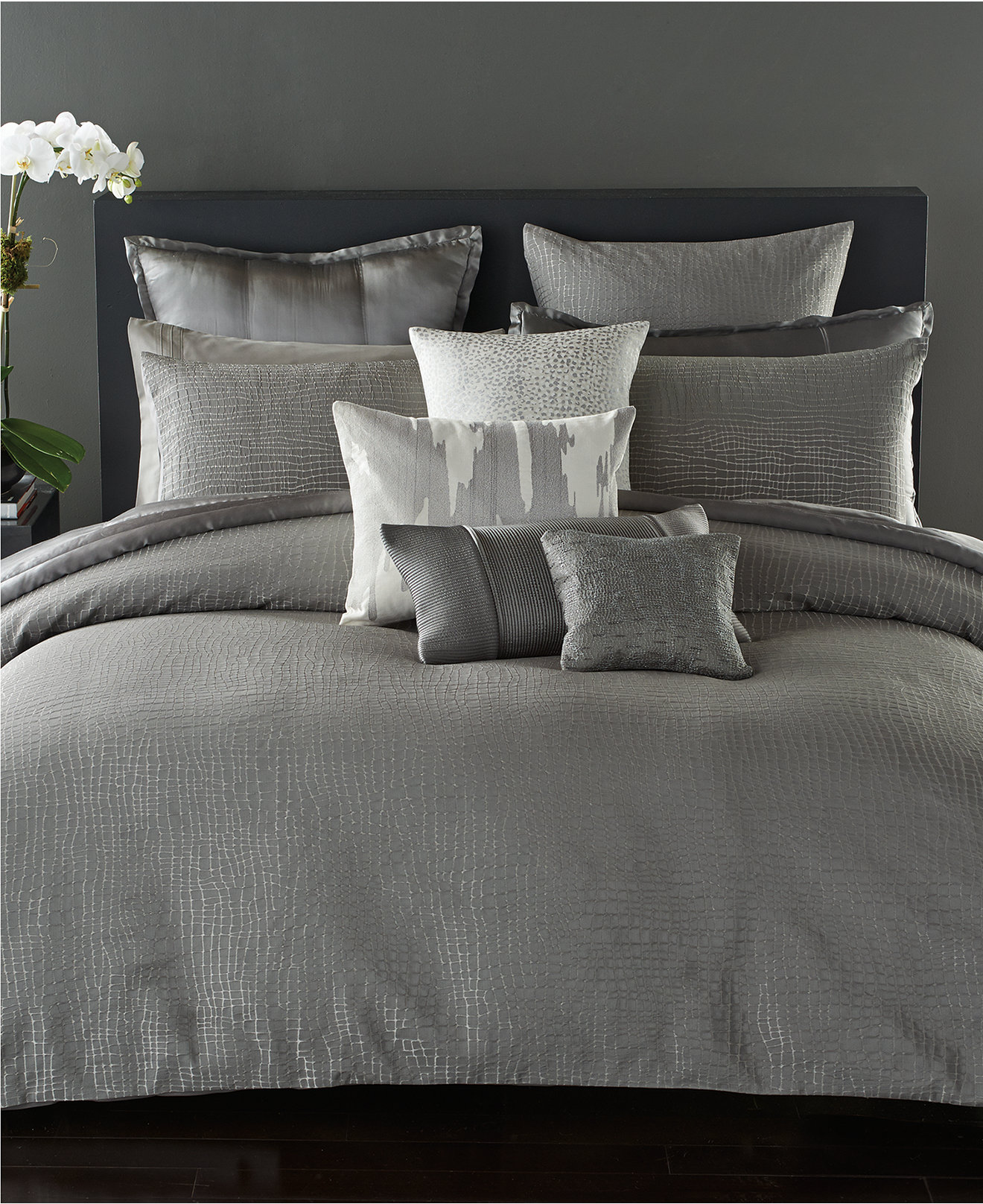 Adorable donna karan bedding with Cushion and pillows also beautiful duvet cover and sidetable and luxury wall paint color