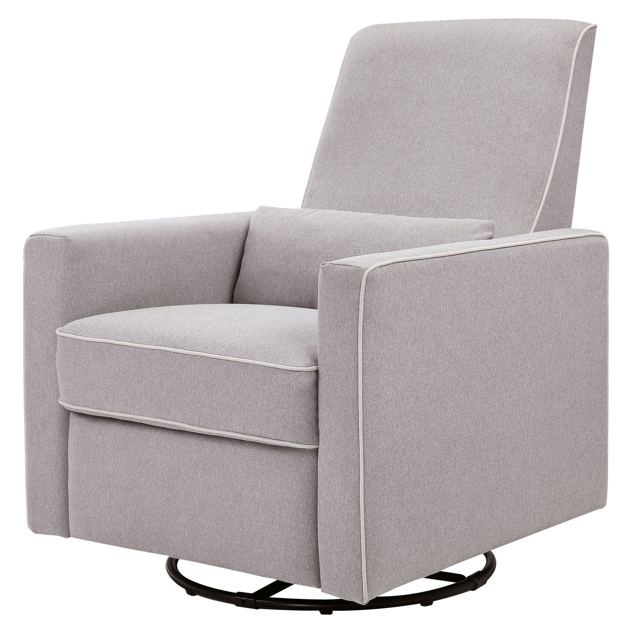 Adorable fabric upholstered glider rocker with armchairs and wooden laminate floor for living room