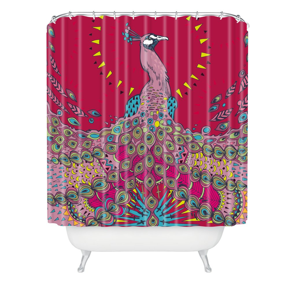 Adorable peacock shower curtain featuring beautiful color peacock shower curtain and sidetable with rollers for your beautiful modern bathroom shower ideas