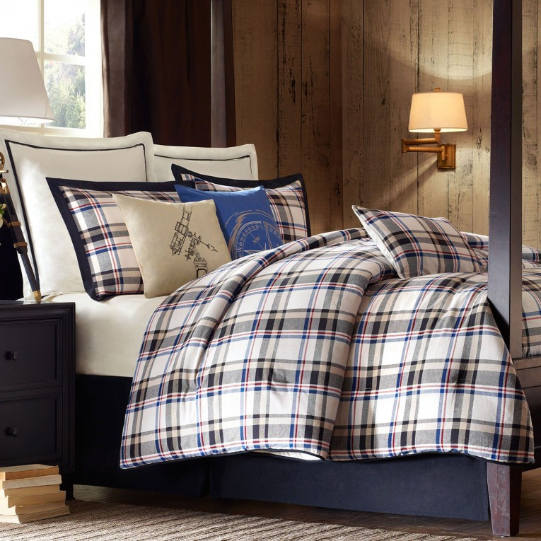 Adorable Plaid Comforter With Rugs And Wooden Floor Plus Headboard And Sidetable Also Pillows