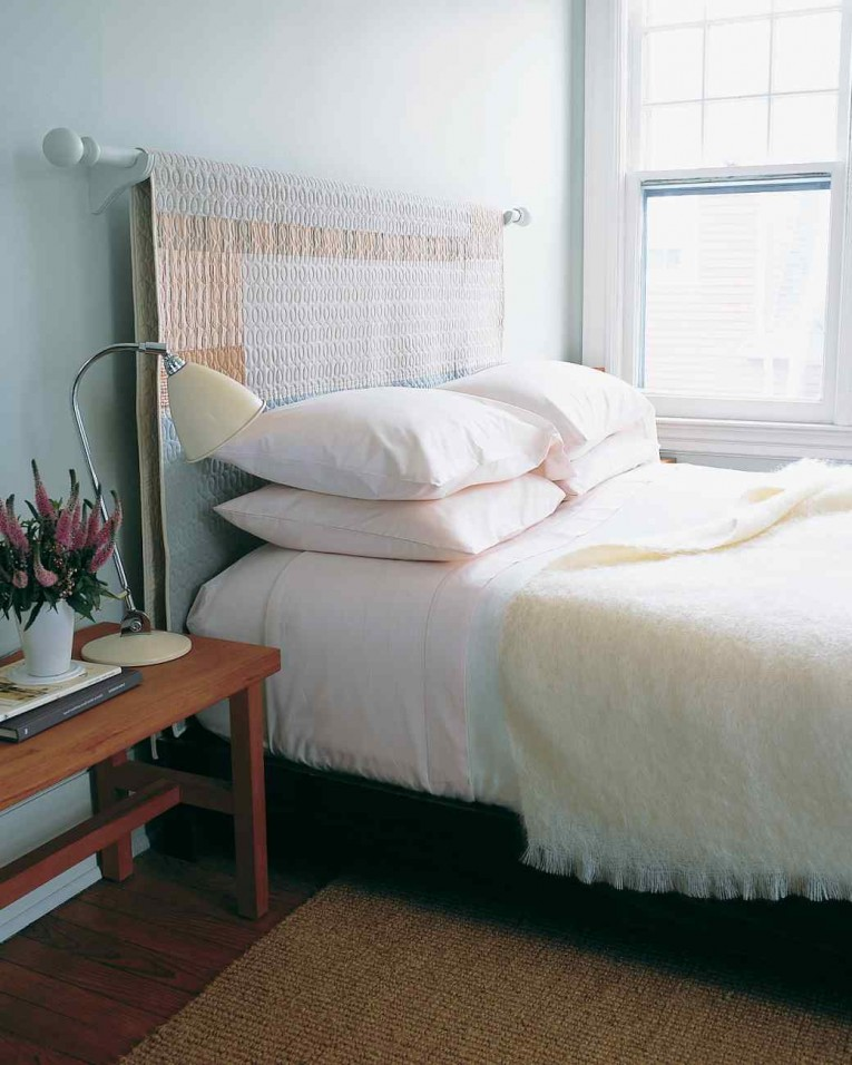 Adorable Quilted Headboard With Pillows And Queen Bed Size Platform Decorating Combined With Night Lamp And Sidetable
