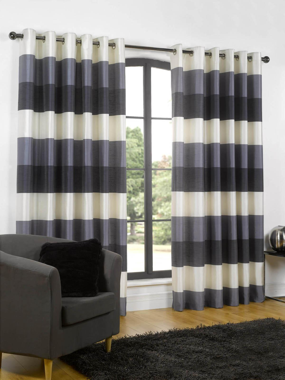 Adorable striped curtains with long curtain and nightlamps also single sofa combined with fluufy rug and lowes mini table