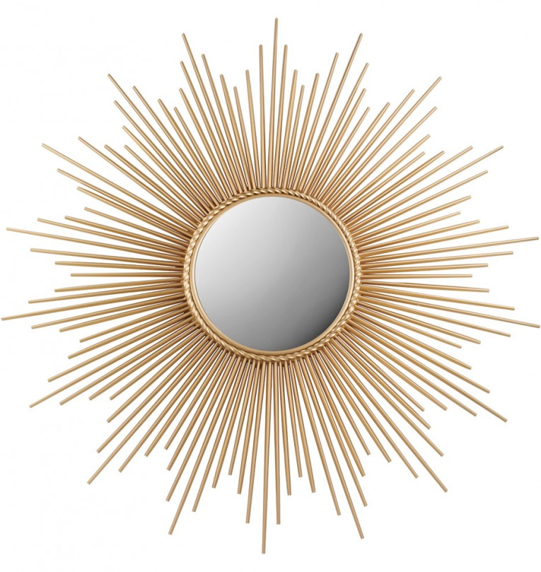 Adorable Sunburst Mirrors With Rustic Table And Night Lap Combined Plus Luxury Wall
