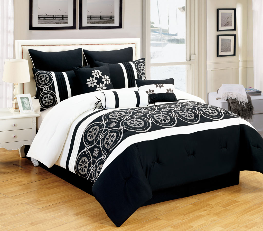 Alluring Bedroom with black and white comforter sets and laminate porcelain floor also curtain and sidetables