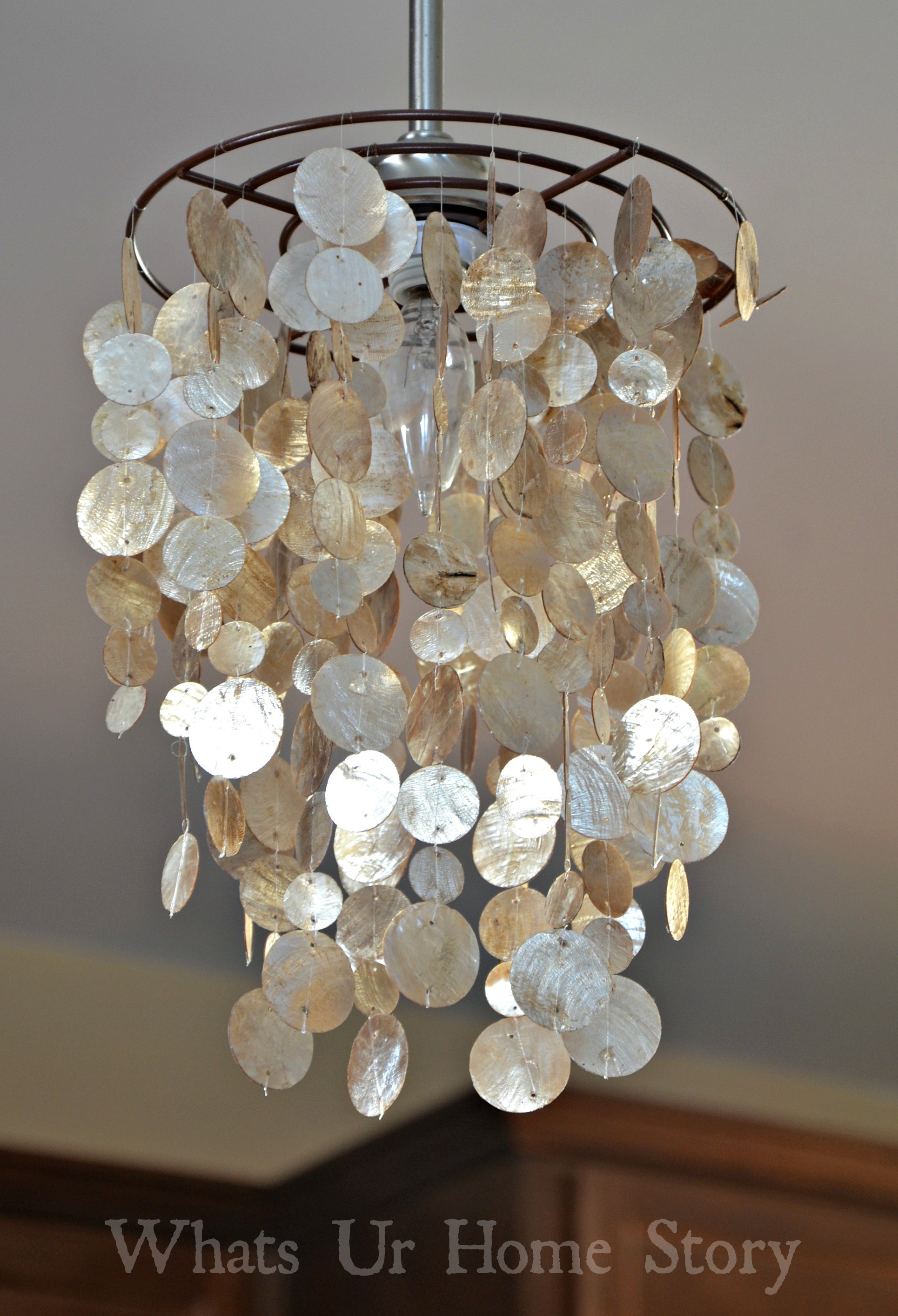 Unique Lighting Design using Capiz Shells for Home Decor Ideas: Alluring Capiz Shells Wall Mirror Gold With Light Capiz Shells For Your Home Lighting Ideas