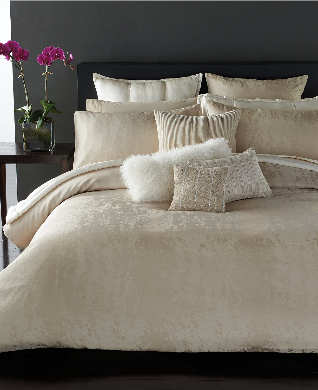 Alluring donna karan bedding with Cushion and pillows also beautiful duvet cover and sidetable and luxury wall paint color