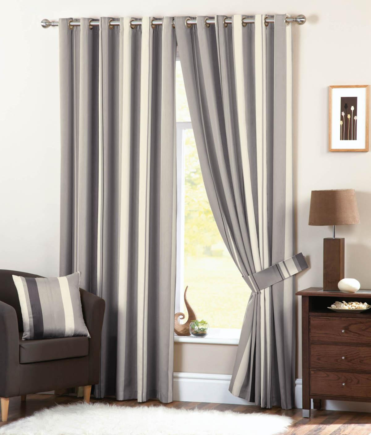 Alluring striped curtains with long curtain and nightlamps also single sofa combined with fluufy rug and lowes mini table