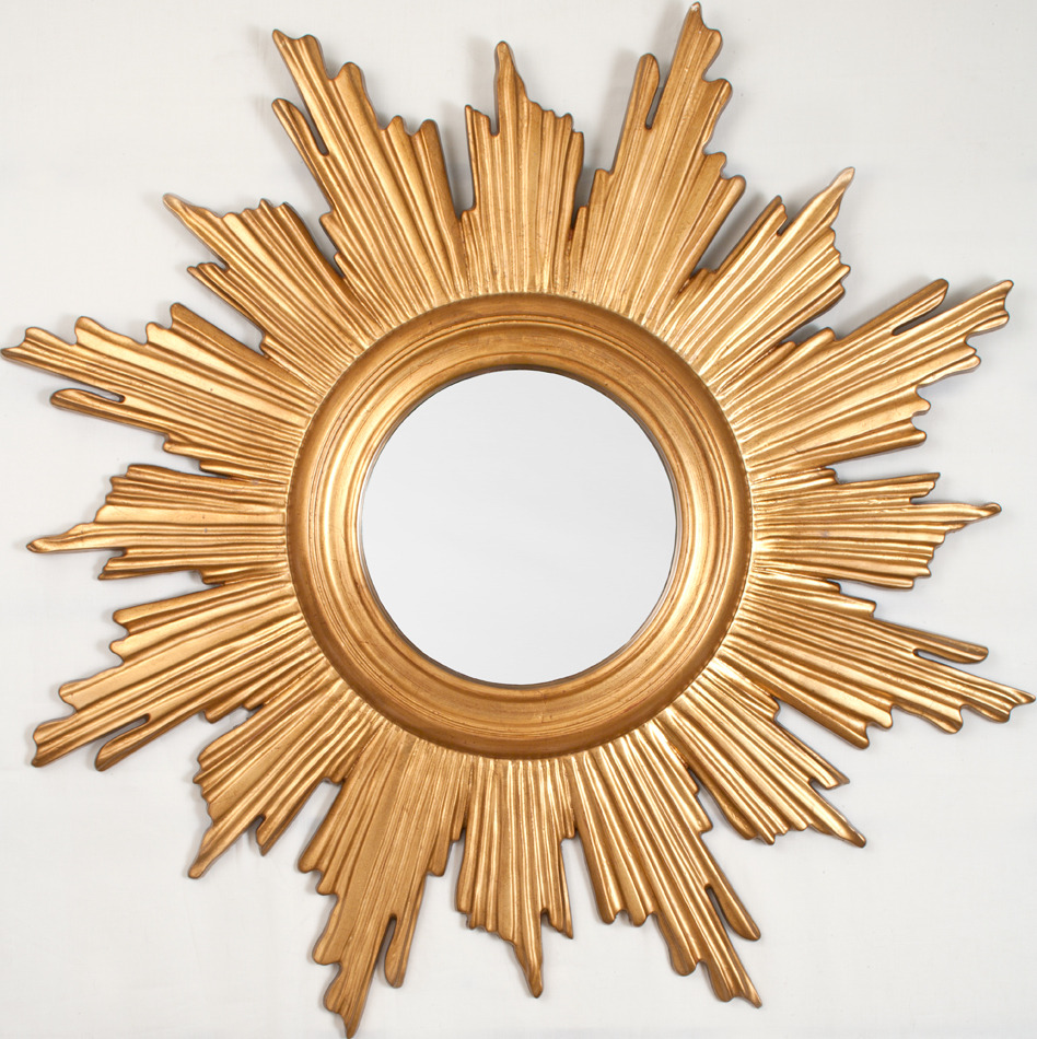 Alluring sunburst mirrors with rustic table and night lap combined plus luxury wall