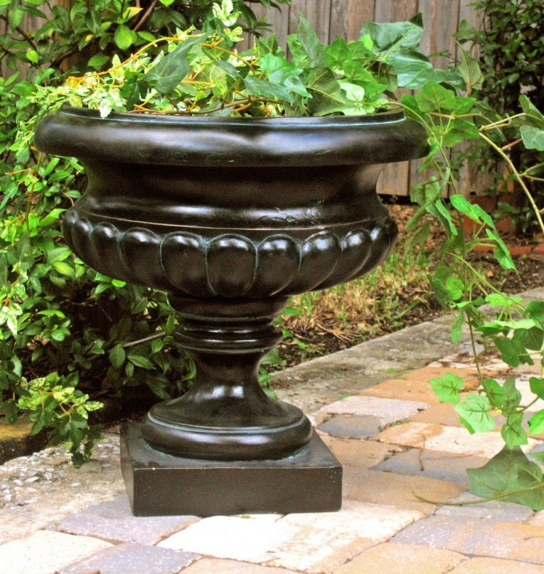 Amazing Black Stone Urn Planters For Exterior