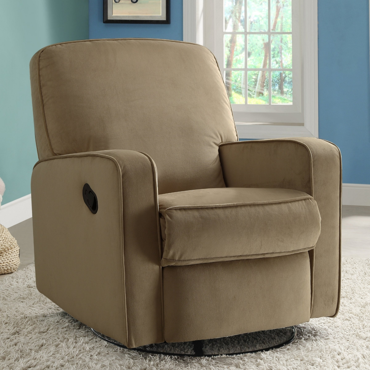 Amazing fabric upholstered glider rocker with armchairs and wooden laminate floor for living room