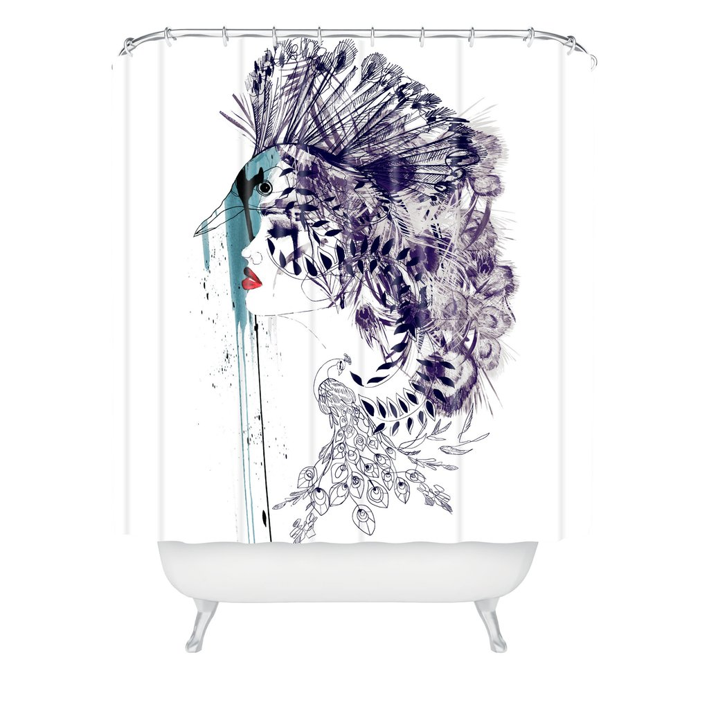 Amazing peacock shower curtain featuring beautiful color peacock shower curtain and sidetable with rollers for your beautiful modern bathroom shower ideas