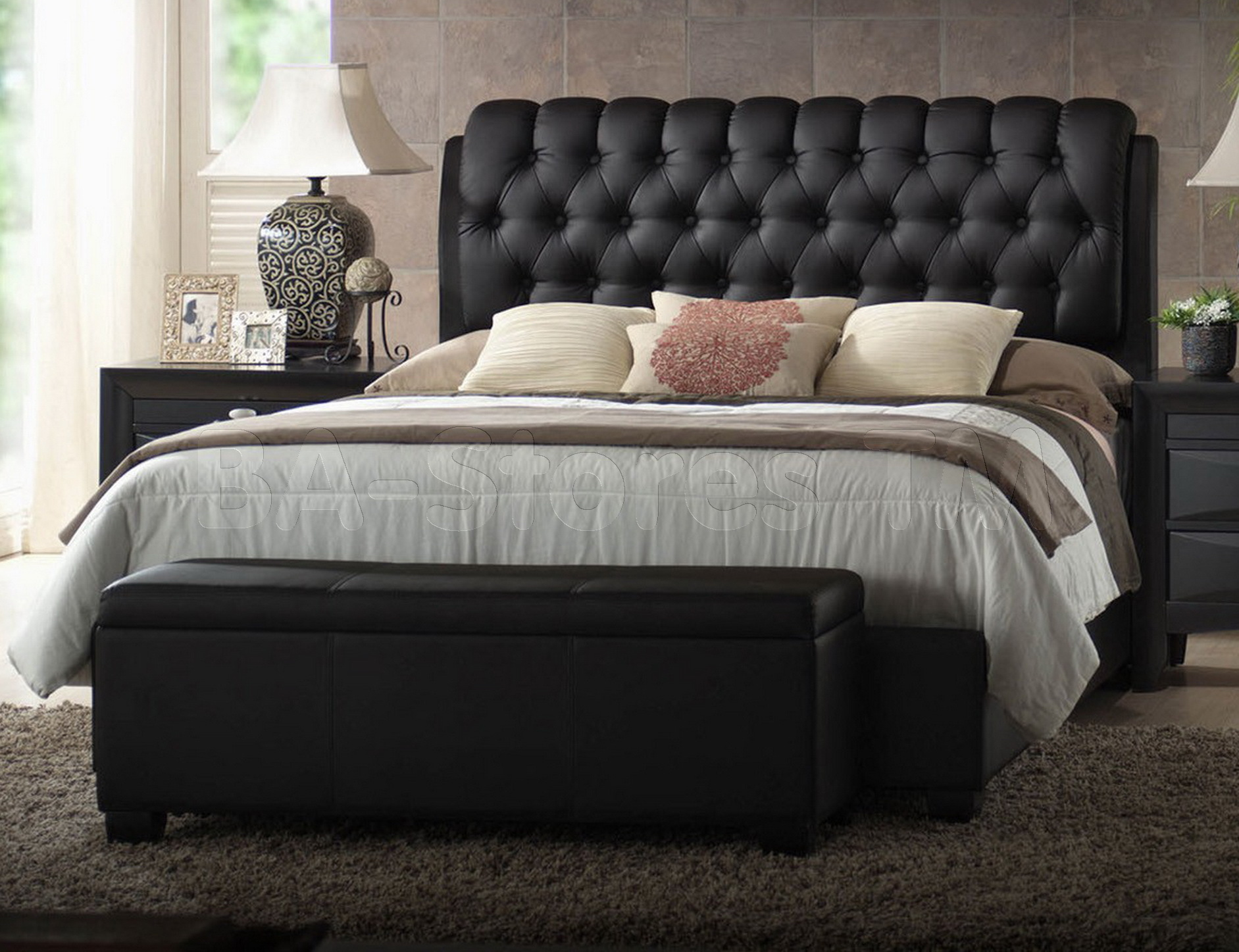 Amazing quilted headboard with pillows and queen bed size platform decorating combined with night lamp and sidetable