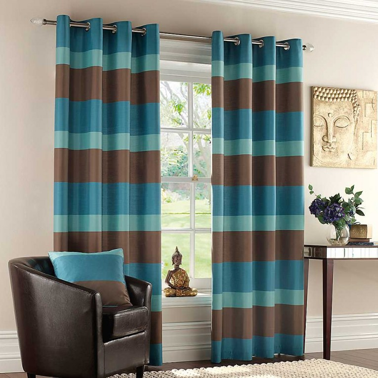 Amazing Striped Curtains With Long Curtain And Nightlamps Also Single Sofa Combined With Fluufy Rug And Lowes Mini Table