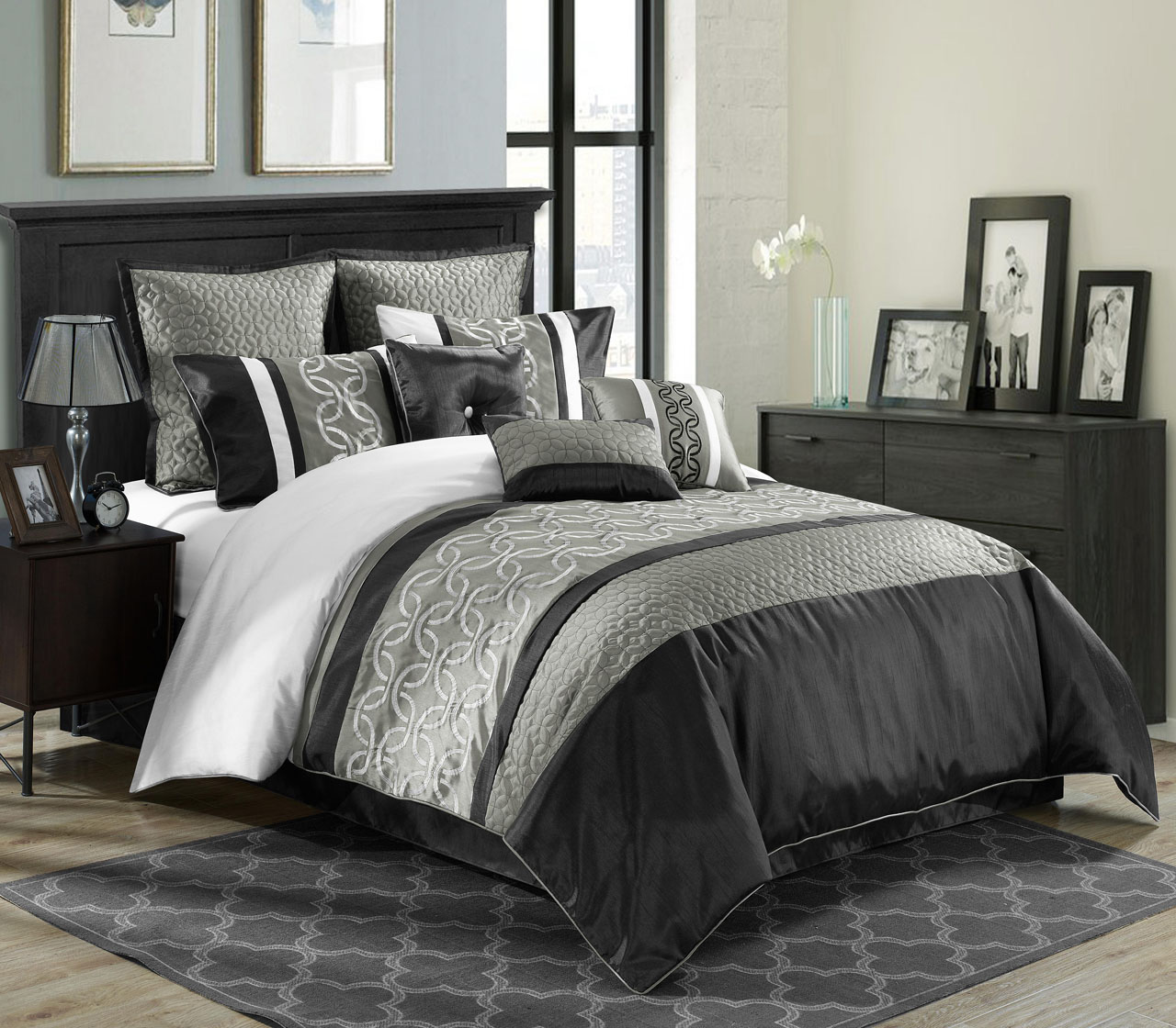 Amusing Bedroom with black and white comforter sets and laminate porcelain floor also curtain and sidetables