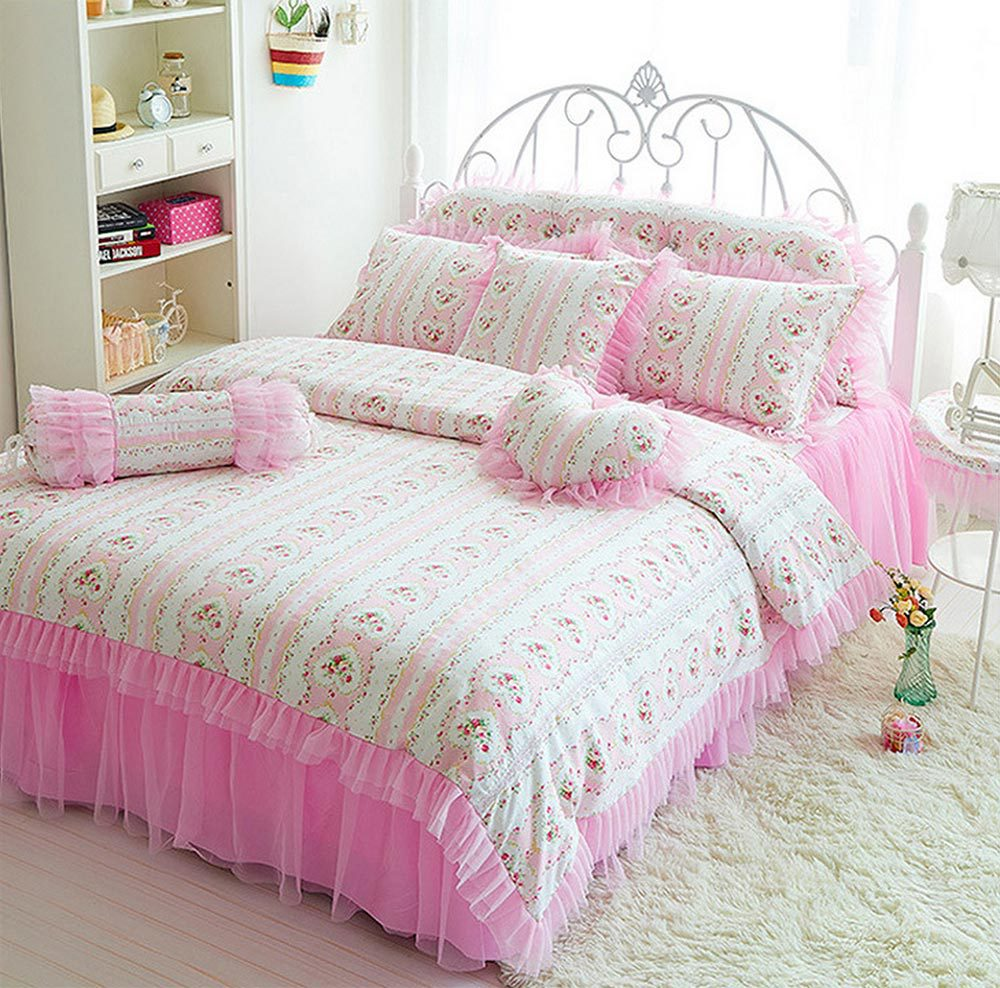 Amusing comforters for teens with pink color and fluff rug