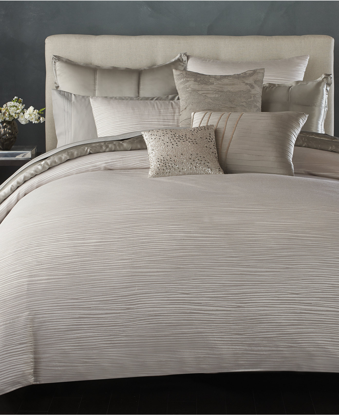 Amusing donna karan bedding with Cushion and pillows also beautiful duvet cover and sidetable and luxury wall paint color