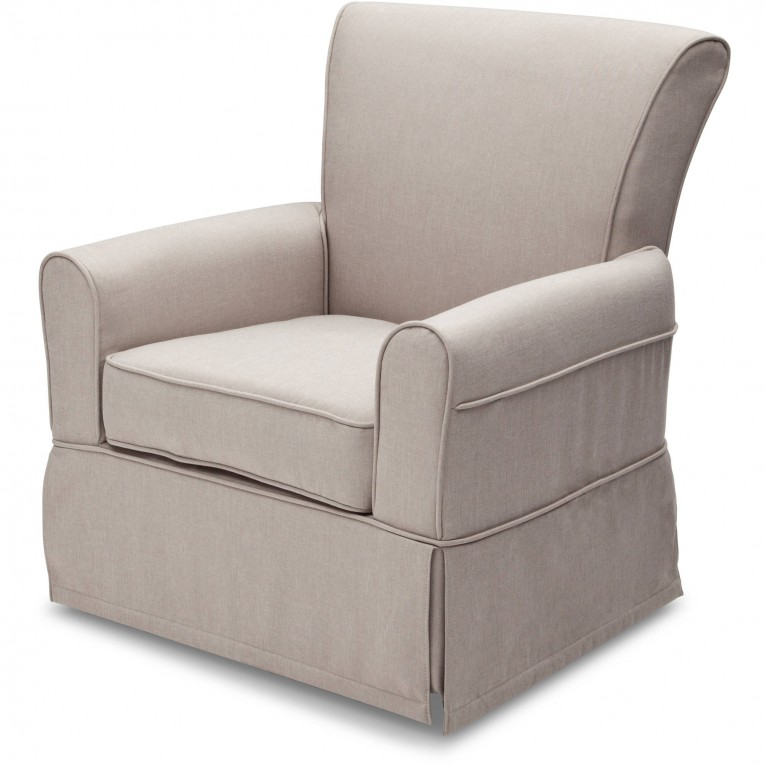 Amusing Fabric Upholstered Glider Rocker With Armchairs And Wooden Laminate Floor For Living Room