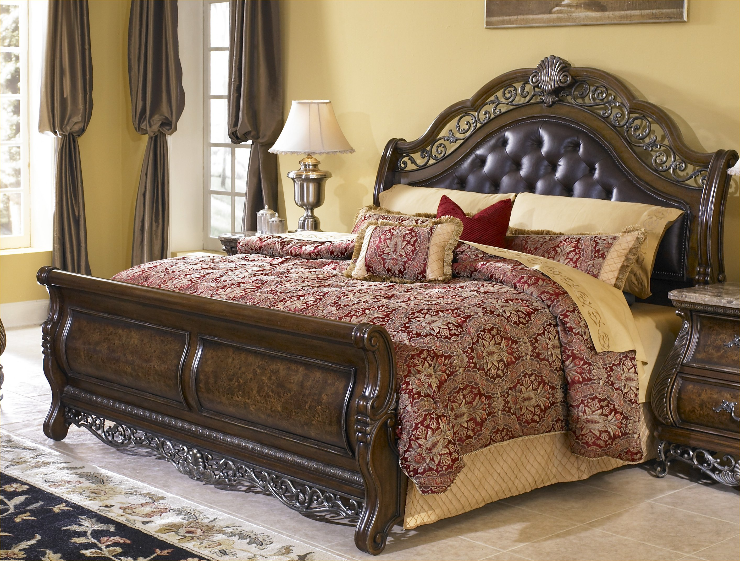 Bedroom Gorgeous King Sleigh Bed With Beautiful Colors For Bedroom