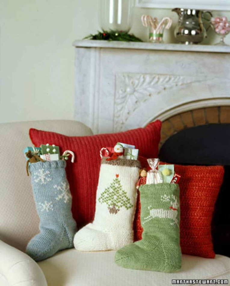 Amusing Knit Christmas Stockings With Multicolorful Christmas Stocking And Fireplace At Chistmas Day Interior Design