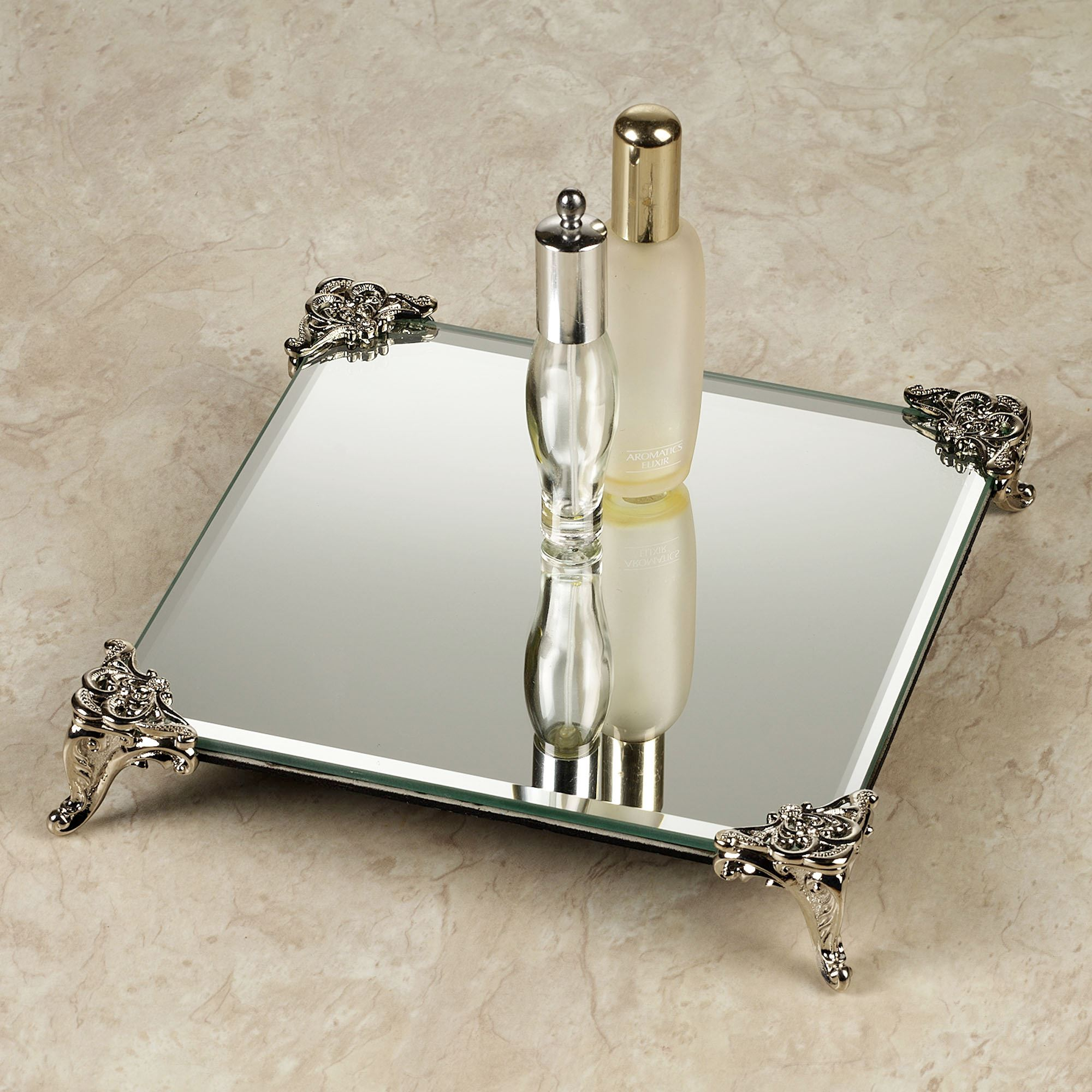 Amusing mirrored vanity tray