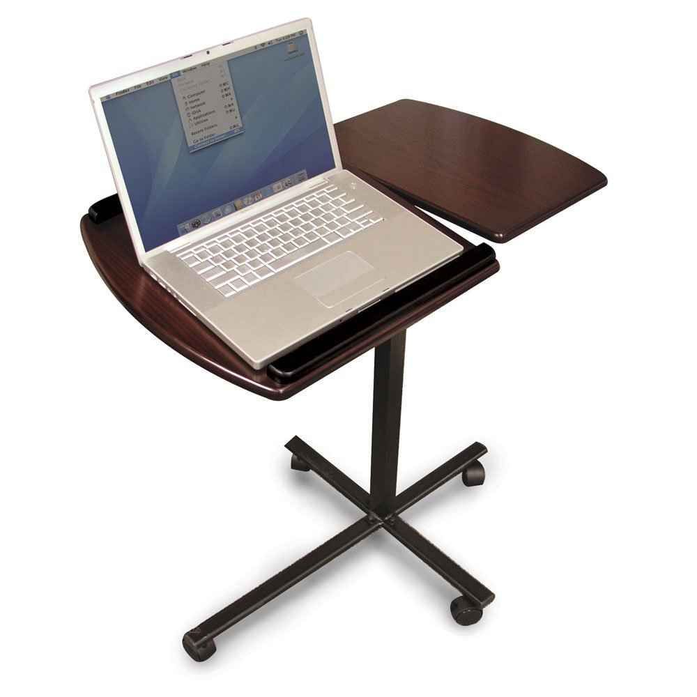 Beautiful Laptop Desk Stand for Work Space or Office: Amusing Modern Laptop Desk Stand With Aluminium Feet With Roll For Work Space Or Office Furniture Ideas