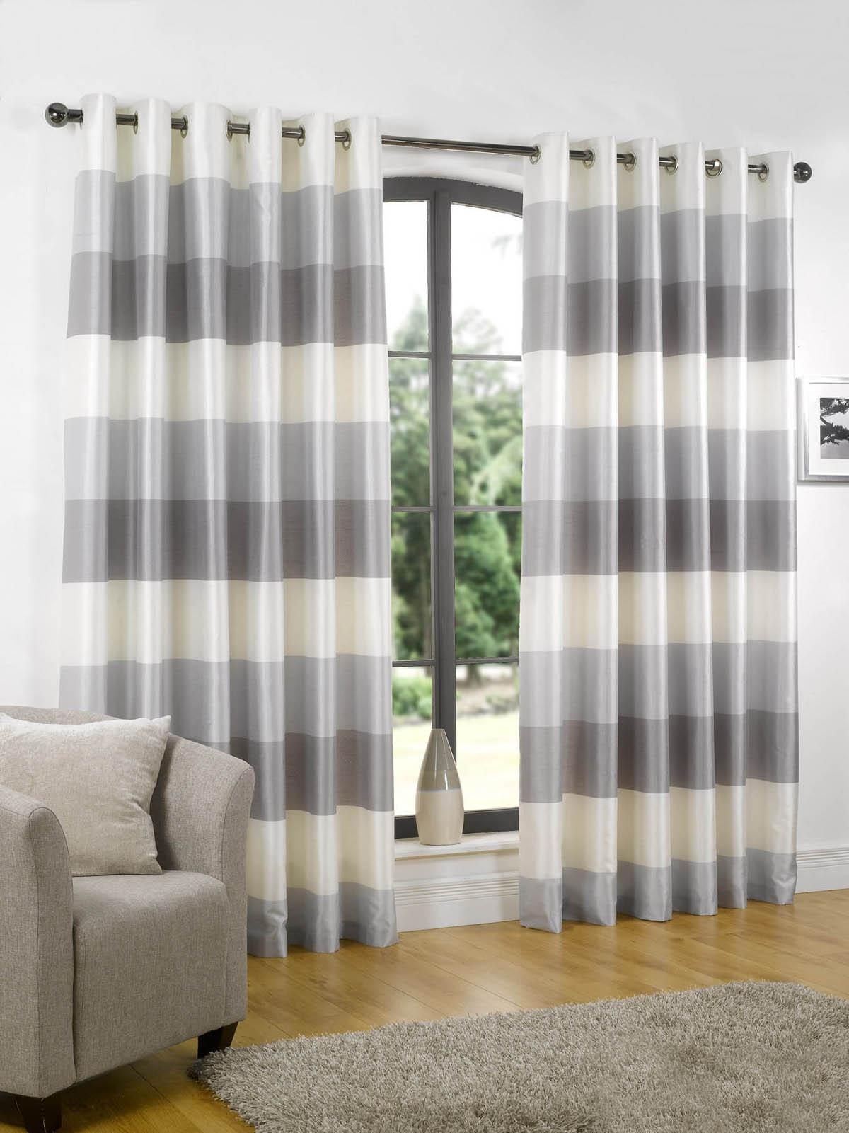 Amusing striped curtains with long curtain and nightlamps also single sofa combined with fluufy rug and lowes mini table