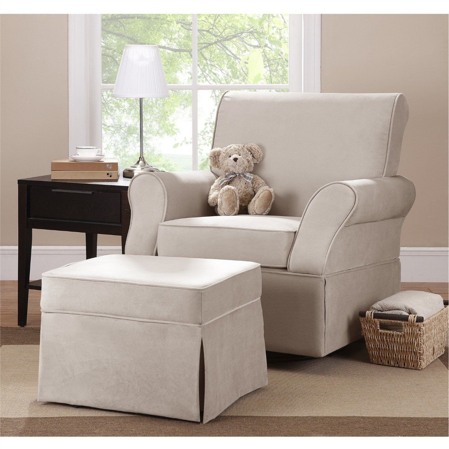 Appealing fabric upholstered glider rocker with armchairs and wooden laminate floor for living room