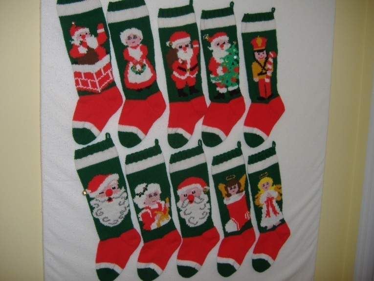 Appealing Knit Christmas Stockings With Multicolorful Christmas Stocking And Fireplace At Chistmas Day Interior Design