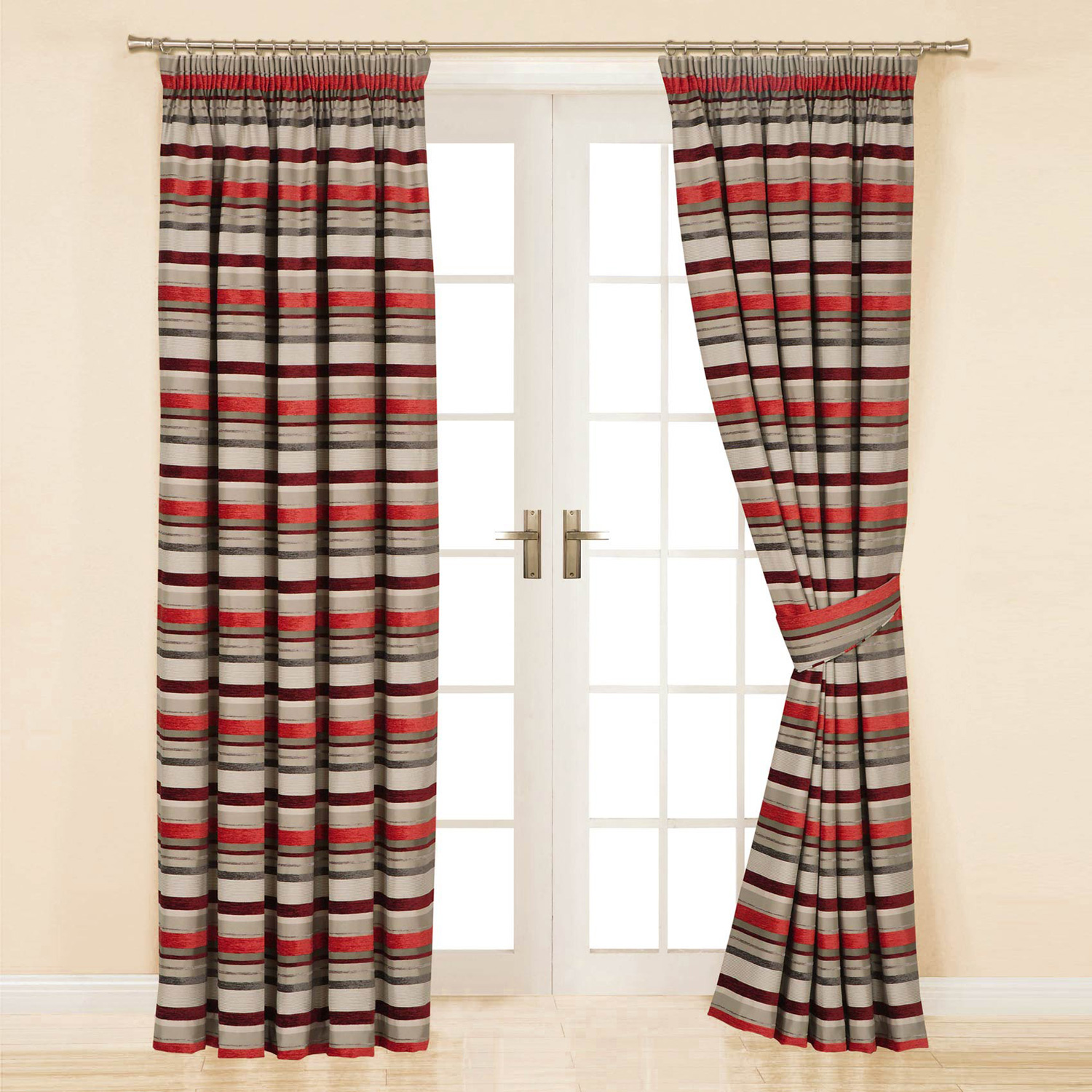 Appealing striped curtains with long curtain and nightlamps also single sofa combined with fluufy rug and lowes mini table