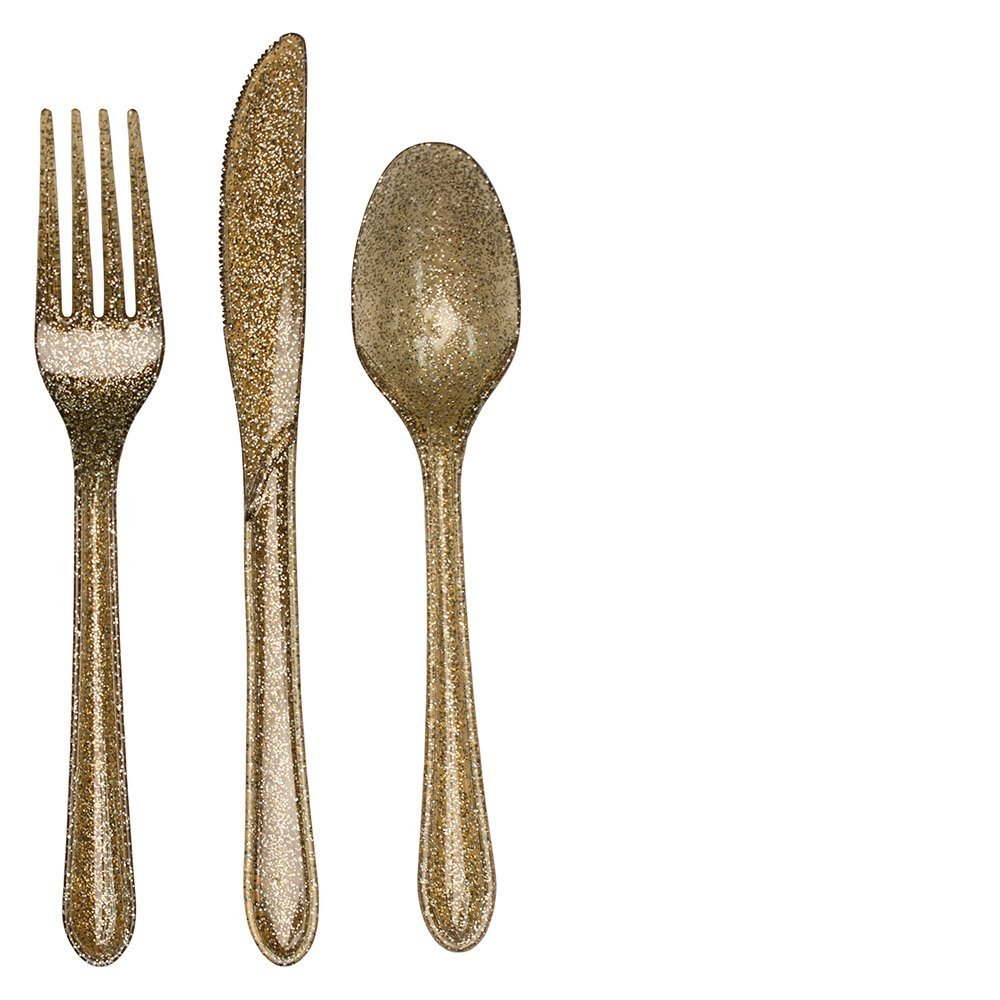 Astonishing gold plastic silverware with glitters gold plastic silverware for serverware ideas