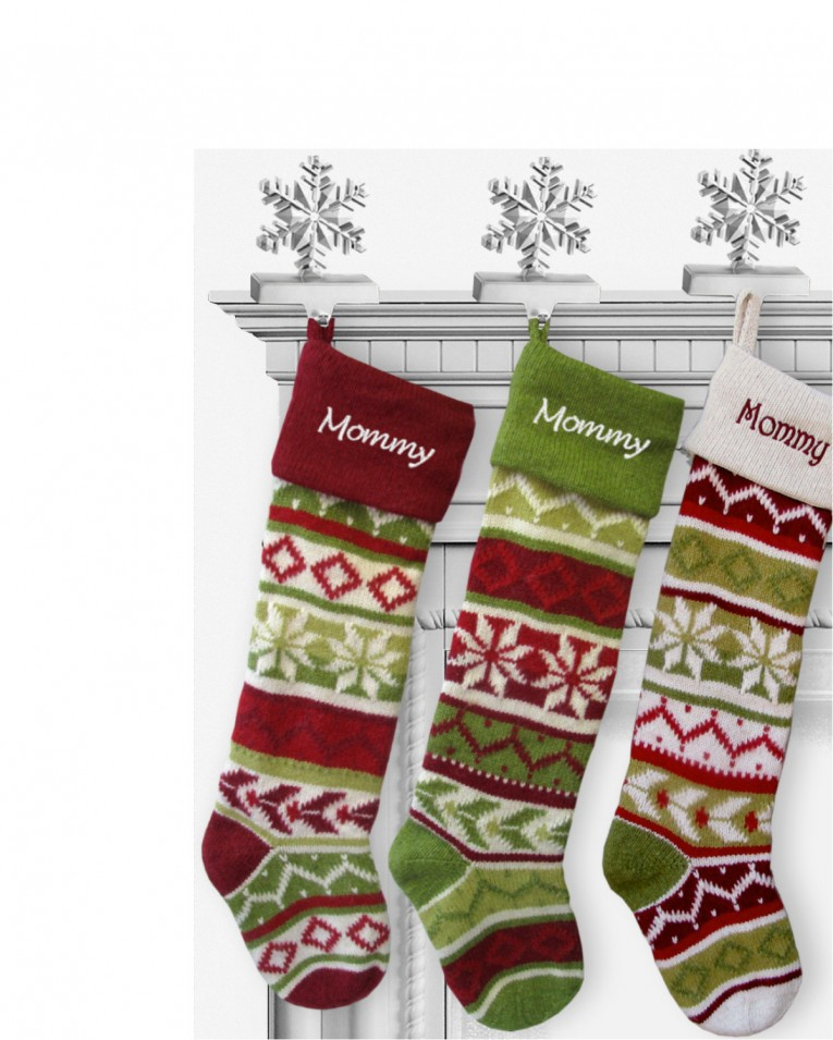 Astonishing Knit Christmas Stockings With Multicolorful Christmas Stocking And Fireplace At Chistmas Day Interior Design
