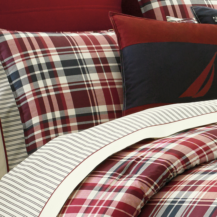 Astonishing plaid comforter with rugs and wooden floor plus headboard and sidetable also pillows