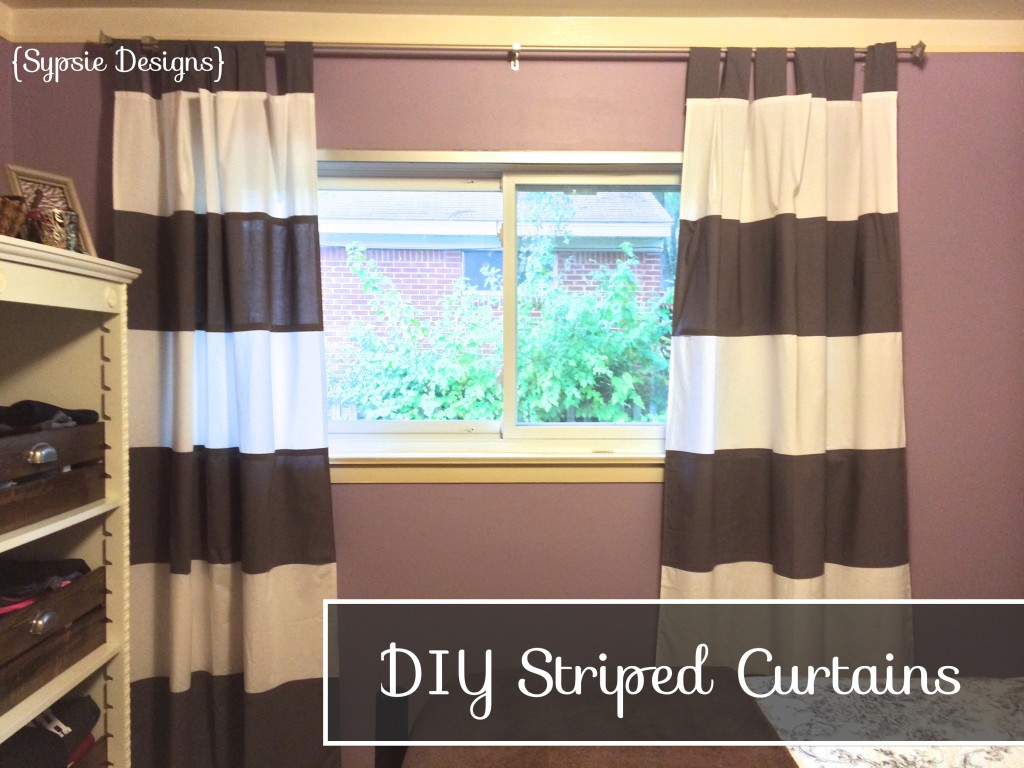 Astonishing striped curtains with long curtain and nightlamps also single sofa combined with fluufy rug and lowes mini table