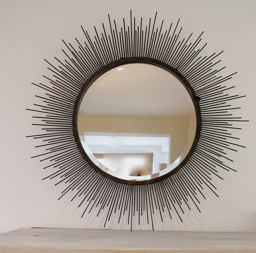 Astonishing sunburst mirrors with rustic table and night lap combined plus luxury wall