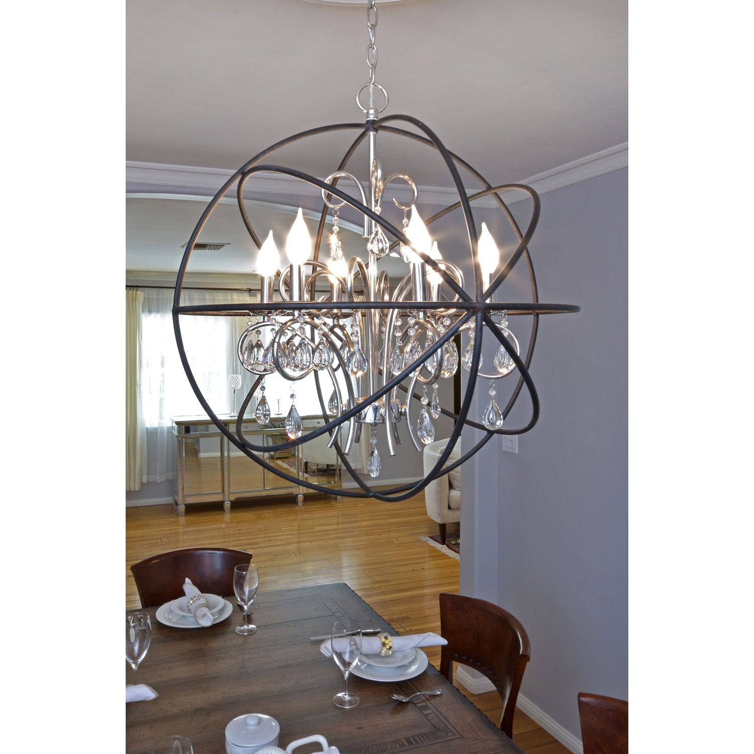 Astonishing unique design of orbit chandelier with iron or stainless for ceiling lighting decorating ideas