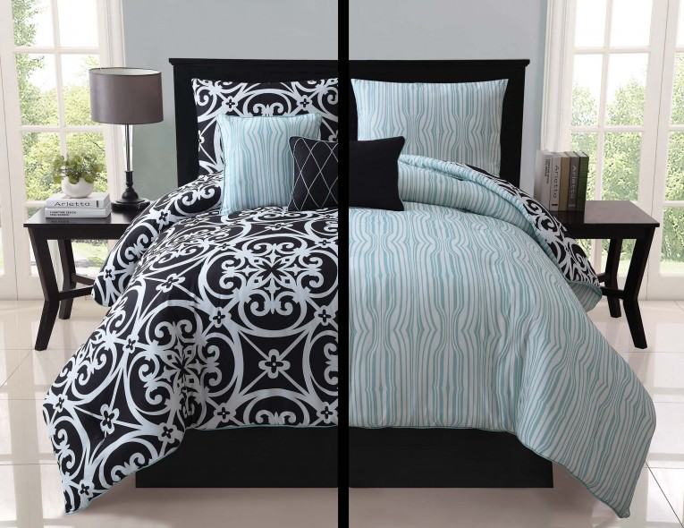 Astounding Bedroom With Black And White Comforter Sets And Laminate Porcelain Floor Also Curtain And Sidetables