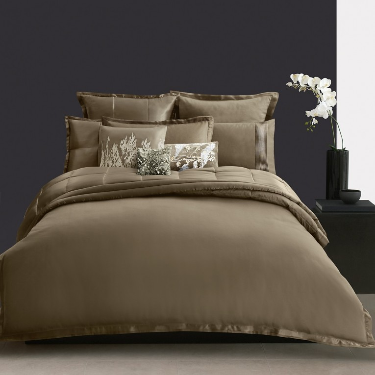 Astounding Donna Karan Bedding With Cushion And Pillows Also Beautiful Duvet Cover And Sidetable And Luxury Wall Paint Color