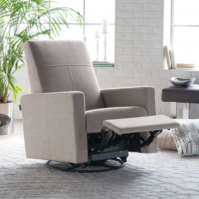 Astounding Fabric Upholstered Glider Rocker With Armchairs And Wooden Laminate Floor For Living Room