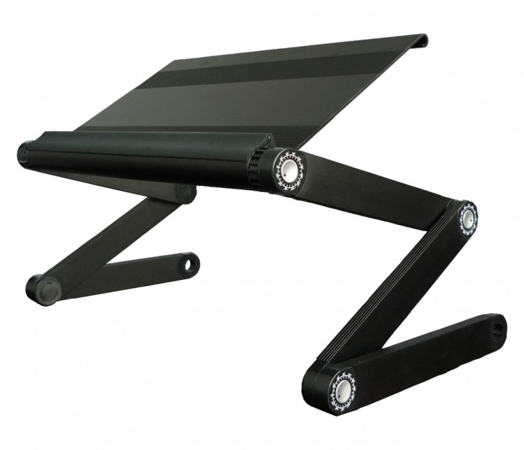 Astounding Laptop Desk Stand With Aluminium Feet With Roll For Work Space Or Office Furniture Ideas