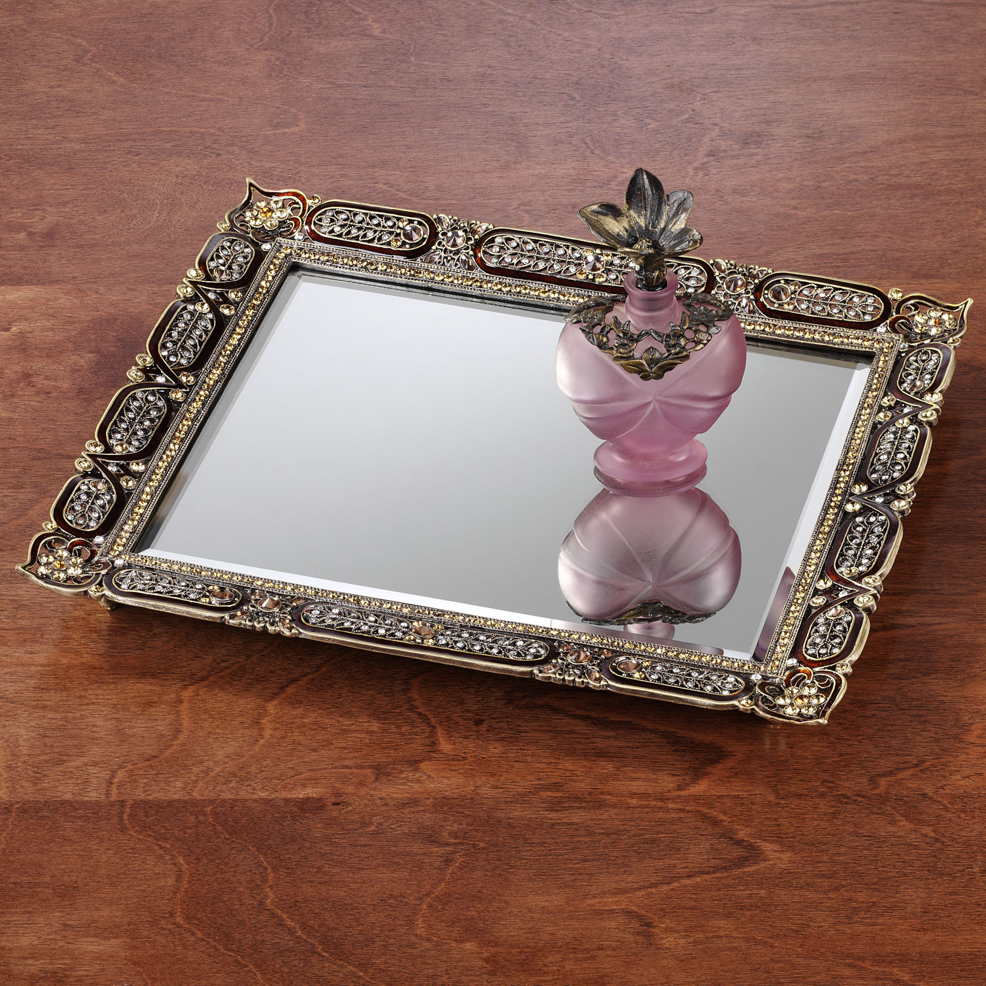 Astounding mirrored vanity tray