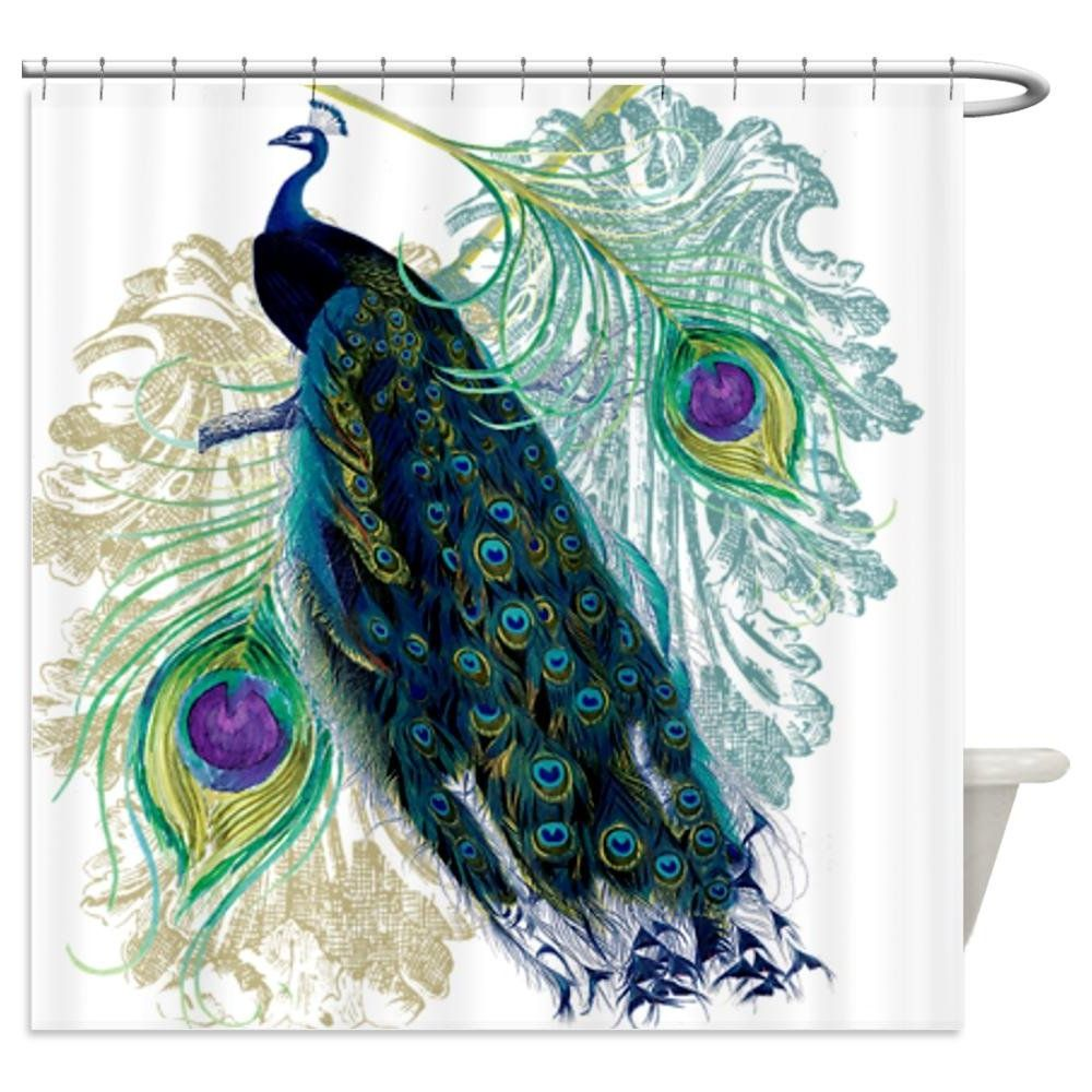 Astounding peacock shower curtain featuring beautiful color peacock shower curtain and sidetable with rollers for your beautiful modern bathroom shower ideas