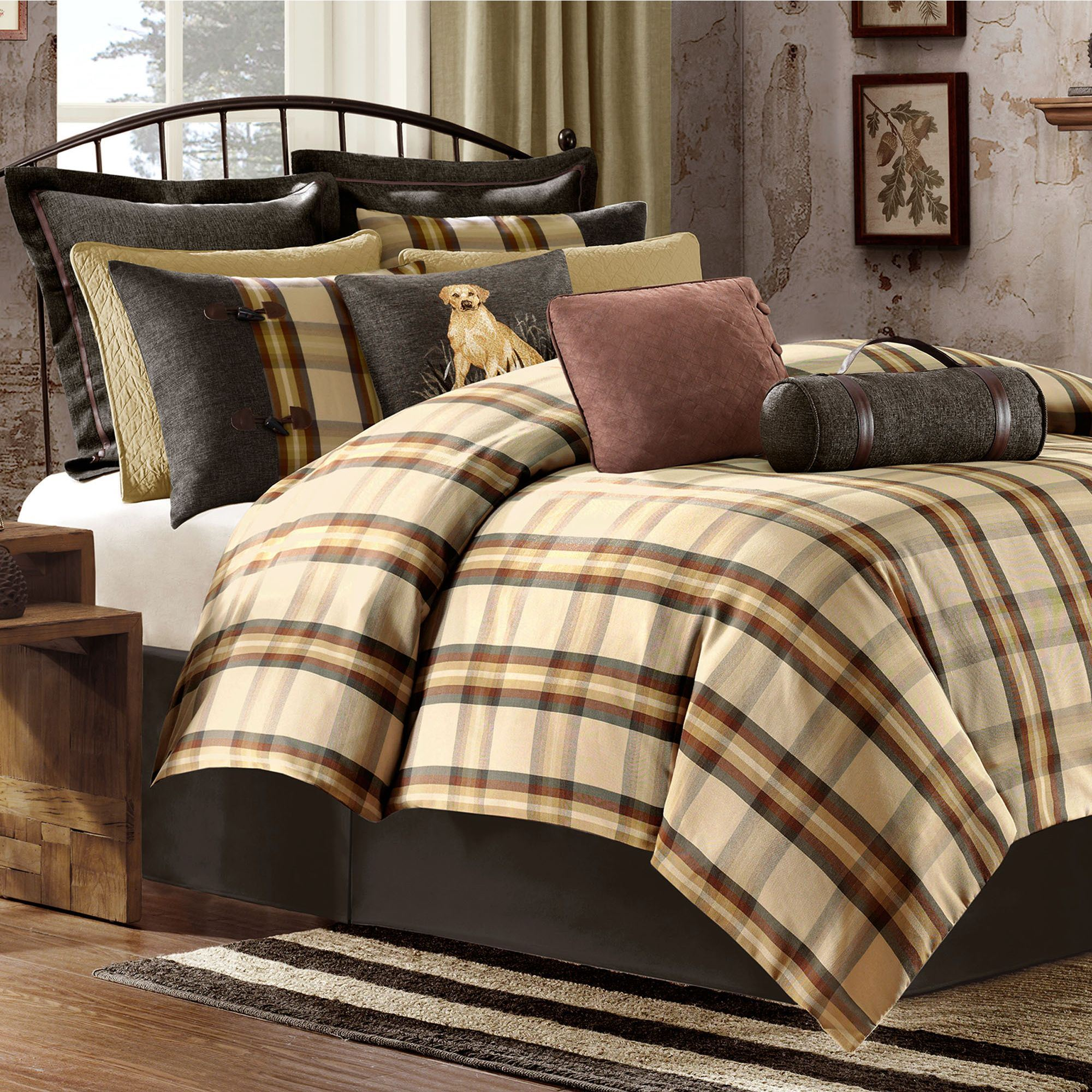 Astounding plaid comforter with rugs and wooden floor plus headboard and sidetable also pillows