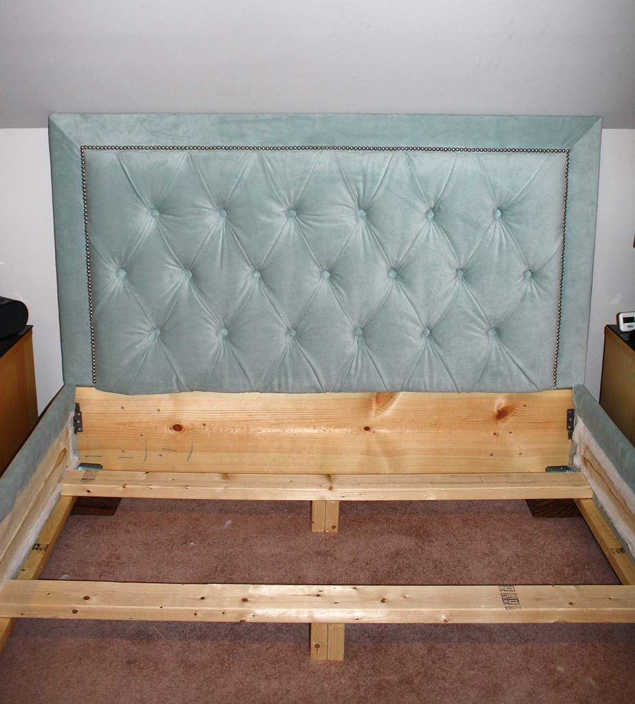 Astounding quilted headboard with pillows and queen bed size platform decorating combined with night lamp and sidetable